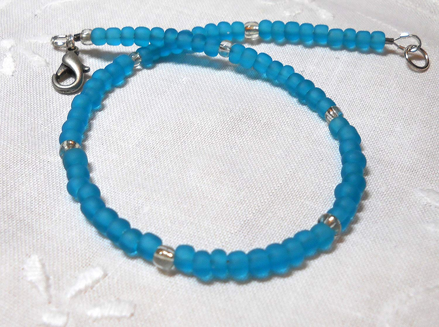 Ankle bracelet, beaded anklet, teal blue seed beads ankle bracelet, beach anklet, wedding anklet, something blue beach wedding bride anklet, handmade jewelry, romantic gift, beach jewelry