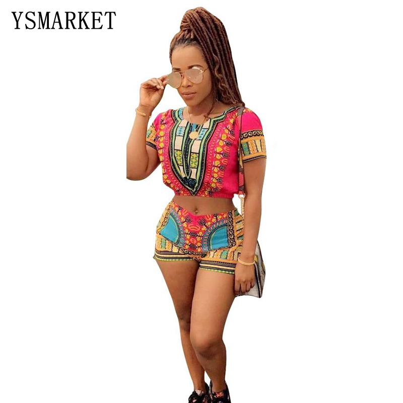Tweedelige Set Vrouwen Zomer Sexy Trainingspak Strand Outfits Pak Afrikaanse Print Crop Top En Shorts Dashiki 2 Stuk Set