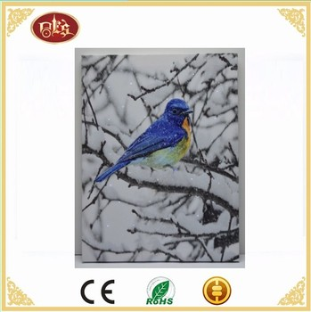 Blue Bird Wall Led Light Canvas Painting,Light Up Canvas