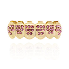 Хип-хоп Iced Out Grillz лучшие и нижние зубы Grillz красочные панк золотые зубные колпачки Rapper стоматологические грили(Китай)