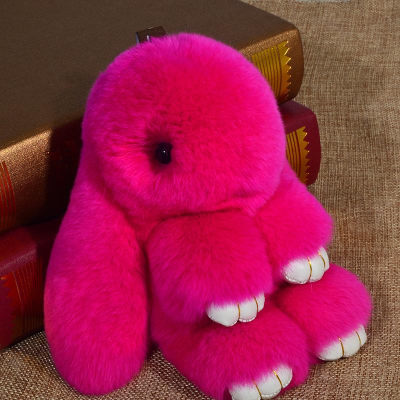 7dcbed15d2 2019 Cute Fluffy Bunny Keychain Pendant Rabbit Fur Pompoms Key Chain Fur  Pom Pom Keychain Bag