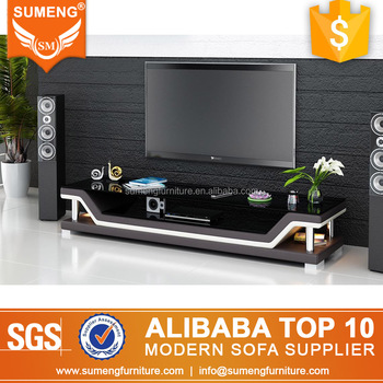 2017 foshan factory modern korean style furniture glass mirror led tv stand