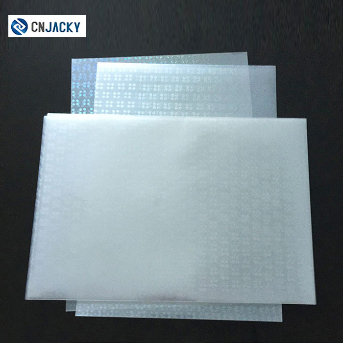 Plastic Raw Material Soft Hologram Overlay with Glue Prices
