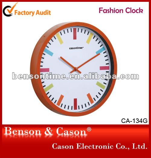 Orange Frame Plastic Wall Clock