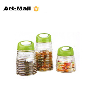 Square Shape Fancy Glass Herb Storage Jars With Green Plastic Lid