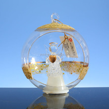 100 wholesale clear glass christmas LED ball angel ornaments with opening