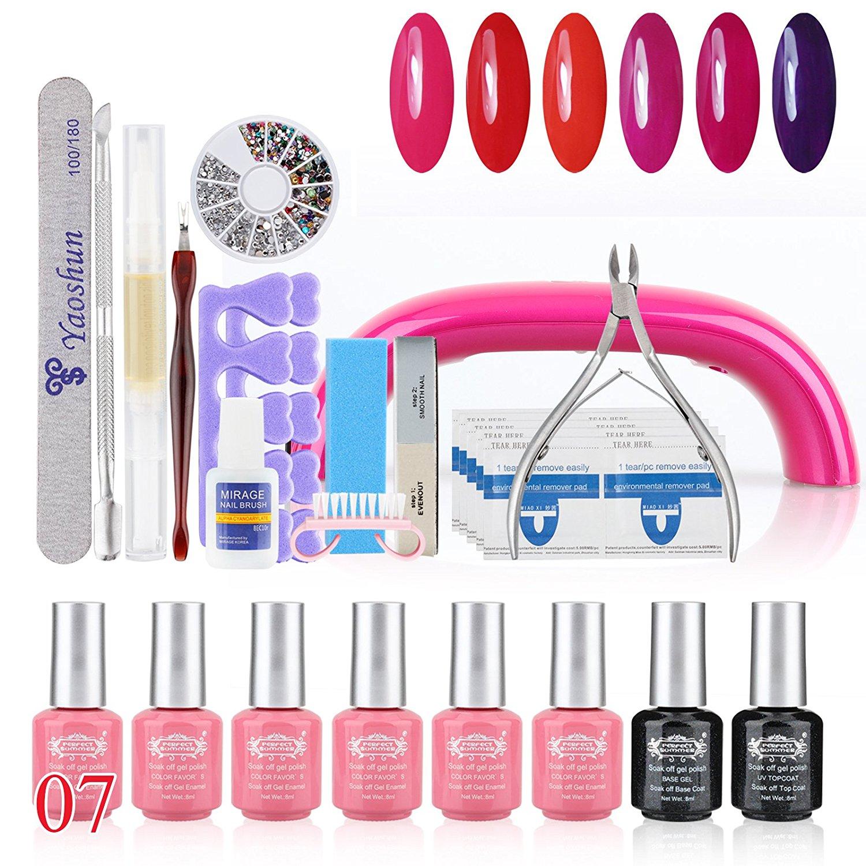 Perfect Summer 31pcs Shellac UV Led Mood Changing 8ml 6 Colors Salon Gel Polish + Base Primer + Top Coat + LED Lamp Nails Art Decoration Tools Gift Sets #07