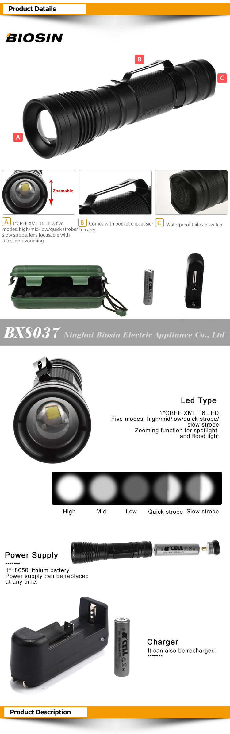 BIOSIN waterproof t6 tactical german led 18650 rechargeable zoomable flashlight