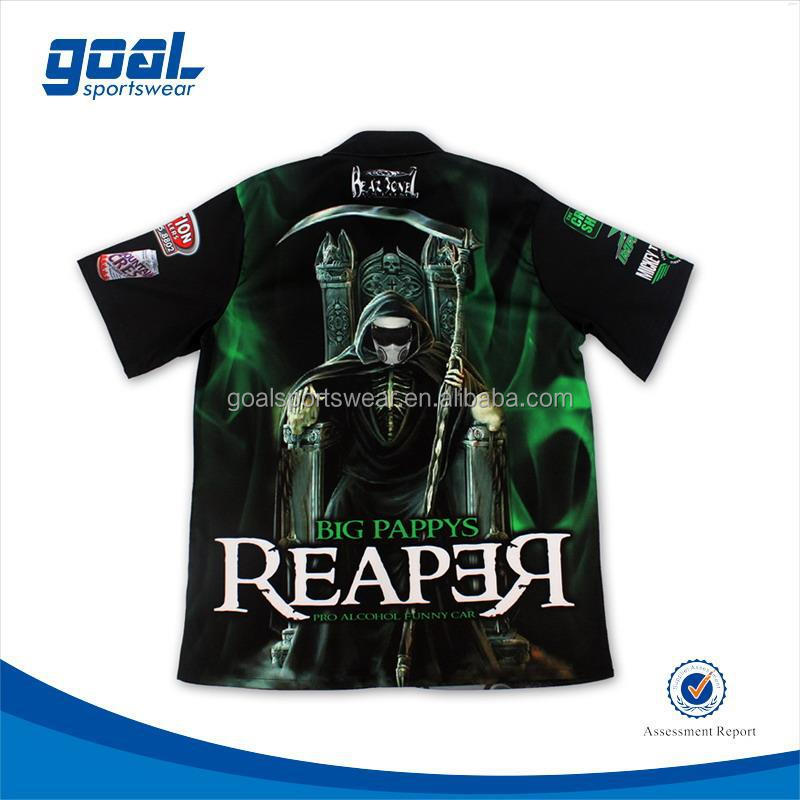Dye sublimation team long sleeve motorcycle t shirts