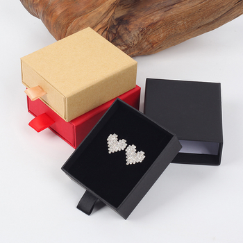 Custom kraft Paper 2mm thickness cardboard Material Jewelry earring Packaging rigid Drawer sliding Gift Box with ribbon puller