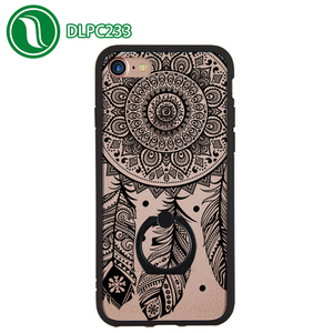 Mobile accessories lace design phone case TPU Acrylic phone case for iPhone 7 with finger ring