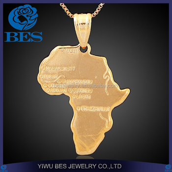 Africa Pendant New 18K Real Gold Plated Unisex Women or Men Fashion African Map Pendant Necklace Jewelry