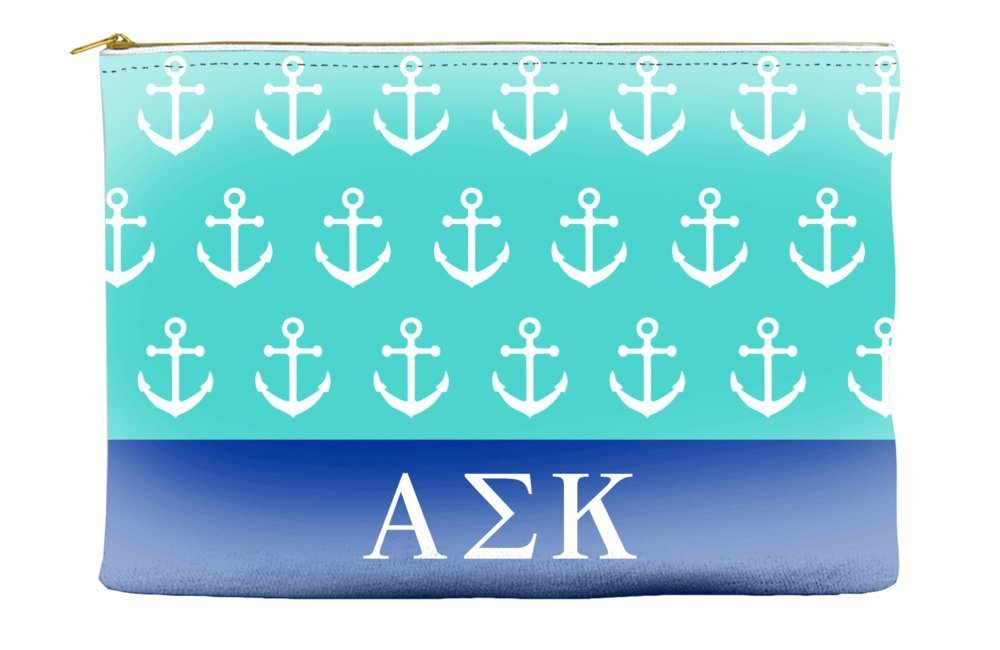 Alpha Sigma Kappa Anchors Teal Cosmetic Accessory Pouch Bag for Makeup Jewelry & other Essentials
