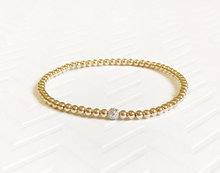 Dainty Stainless Steel 18K Gold Small Tiny Ball Stacking Beaded Bracelet With Diamond Bead