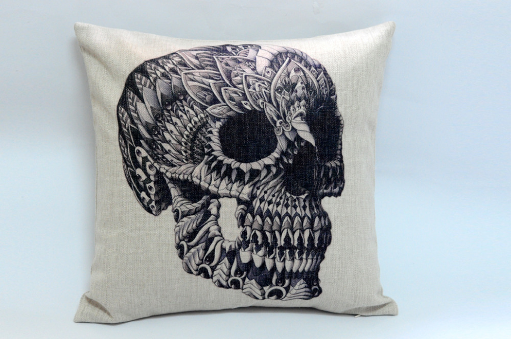Wholesale personalized black skull cotton linen pillow cover sofa cushion pillow decorative pillow cushion Free Shipping!