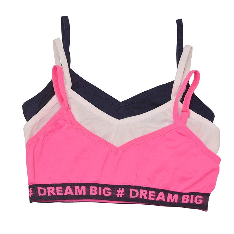 2c318d6a071 Get Quotations · SWEET N SASSY Big Girls Pink White Contrast Dream Big 3 Pc  Cami Bra Set 8