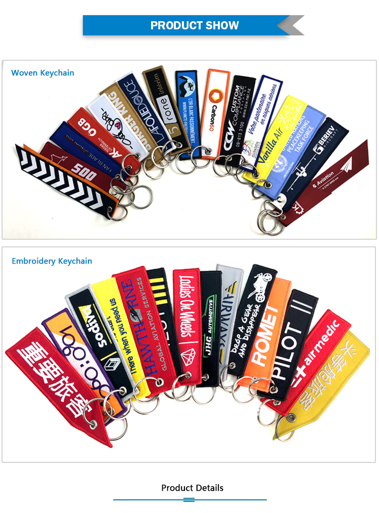 Customized Black Embroidery Logo Flight Keychain Key Tag
