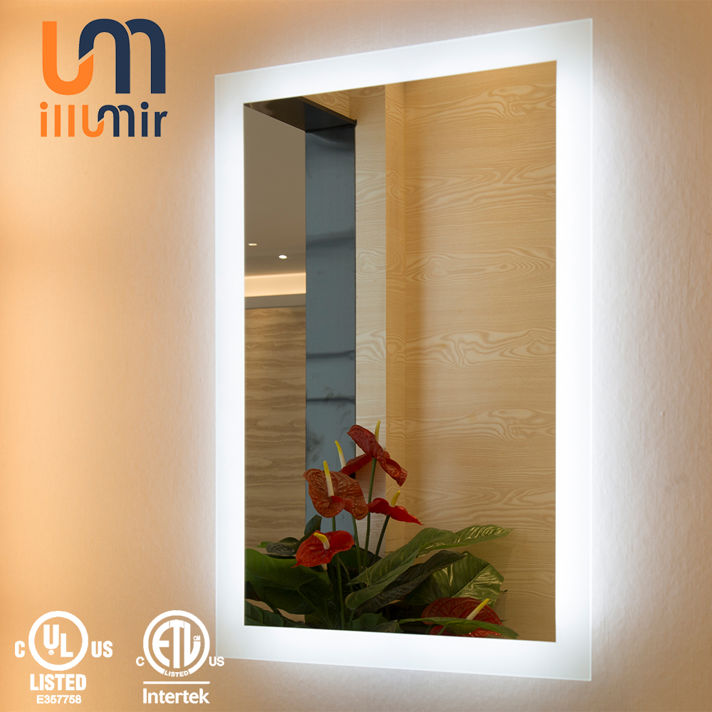 Frameless Fogless Full Length Bahtroom LED Lighted Mirror With Glass Safety Backing Film