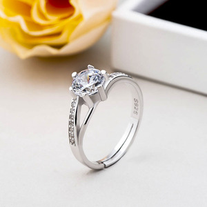 Fashion Jewelry Korean Style 925 sterling Silver Clear Cubic Zirconia diamond wedding Ring for women