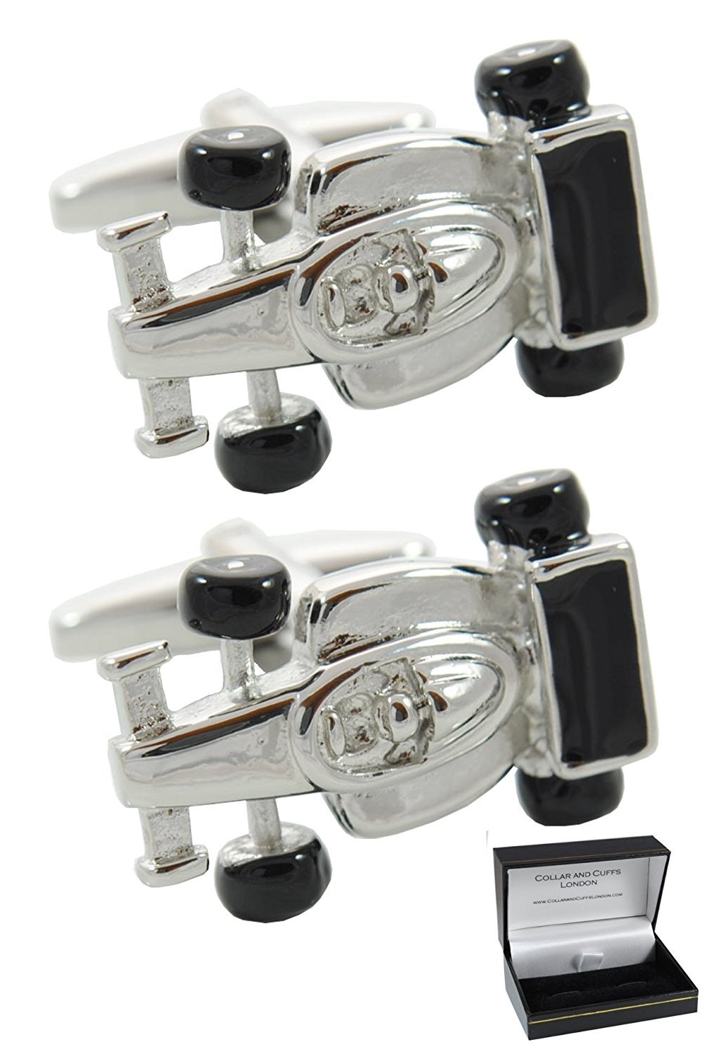 COLLAR AND CUFFS LONDON Premium Cufflinks with Presentation Gift Box Gear Stick Solid Brass Perfect for Car Lovers Round Gear Knob Black and White Colours