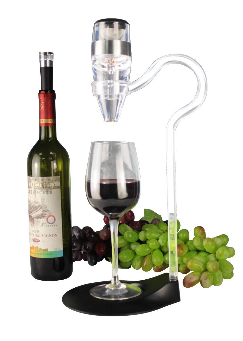 Homeself Wine Aerator Gift Set Wine Aerator Tower - Aerator with Aluminium Ring, Aerator Stand with Mini Holder, Aerator Base (Unique Wine Decanters)