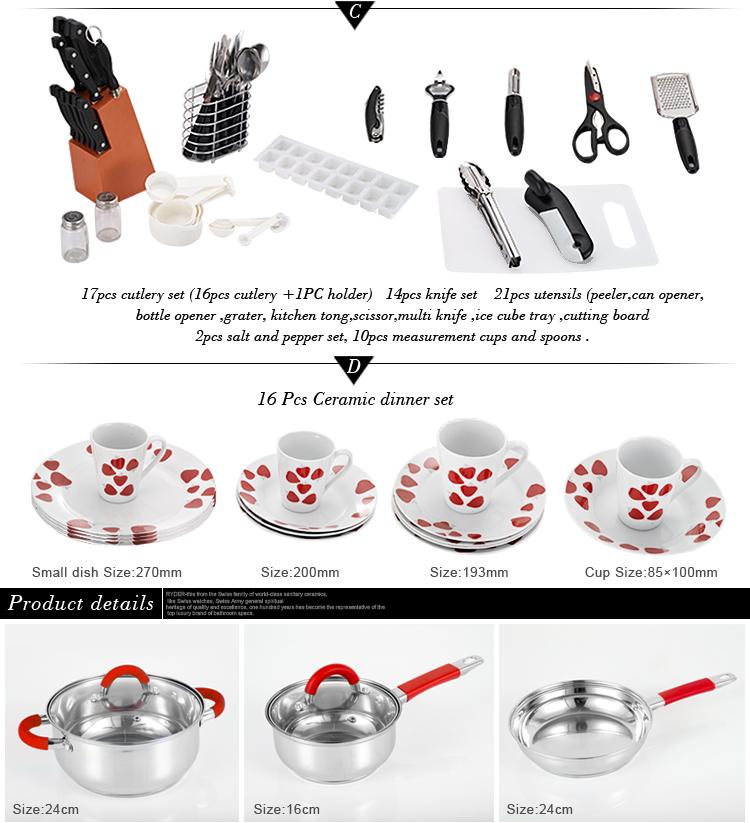 90 조각 홈 스타터 세트 주방 용품 kichen 장비 도구 요리 스테인레스 스틸 조리기구 세트