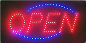 """ANIMATED LED NEON LIGHT LIGHTED OPEN SIGN + CHAIN 19""""X10"""" LED01 by PCC MOTOR"""