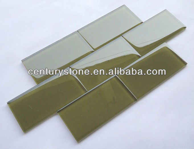 3''x6'' dark green glass subway tile cheap glass tile for walls
