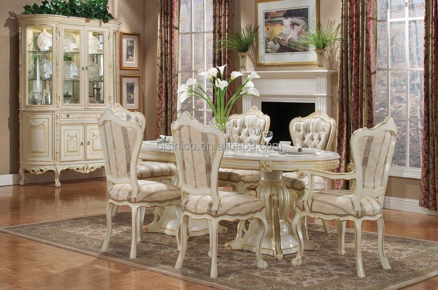 French Ivory Wooden Oval Dining Table Set With Chair, Antique Display  Cabinet, View French Oval Dining Table, BISINI Product Details From  Zhaoqing Bisini ...