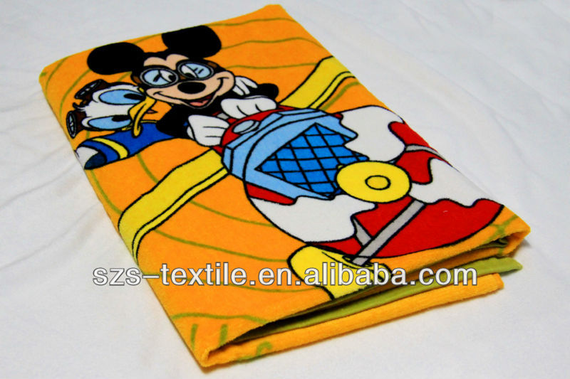 mickey mouse printed branded beach towel for children
