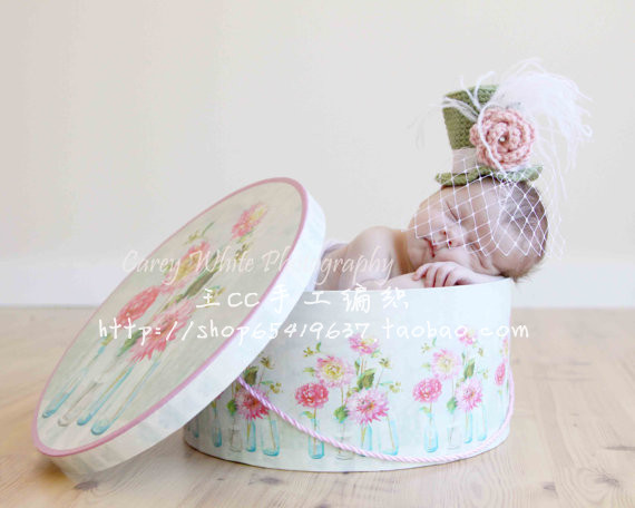 High fashion gauze rose vintage small fedoras baby photography props