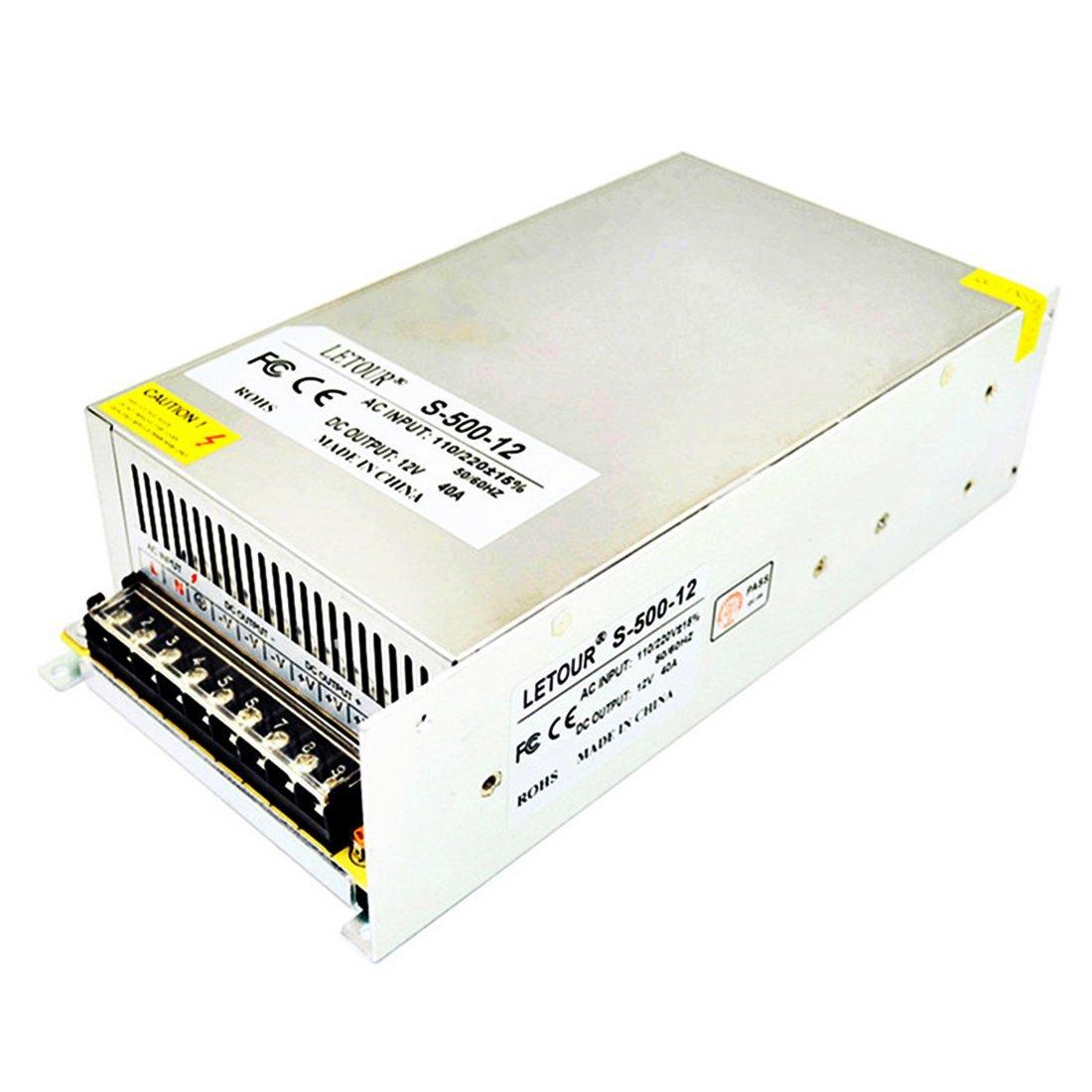LETOUR DC 12V 40A Power Supply 500W AC 110V/220V Converter Adapter 12V LED Power Supply for LED Lighting,LED Strip,CCTV