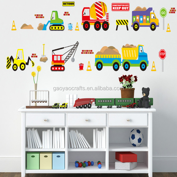 Cartoon Trucks Tractors Cars Wall Stickers Kids Rooms Vehicles Wall Decals  Art Poster Photo Wallpaper Home