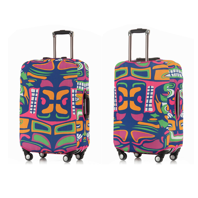 Elastic spandex protective luggage travel bag cover,sublimation offset printed trolley carry on suit case golf bag travel cover