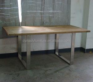 antique rustic dining table design with steel and wood