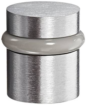 "Rockwood 446.26D Brass Modern Style Universal Door Stop, #12 X 1-1/2"" WS Fastener with Plastic Anchor and 12-24 x 1"" FH MS Fastener with Lead Anchor, 1-1/4"" Base Diameter, 1-1/2"" Height, Satin Chrome Plated Finish"