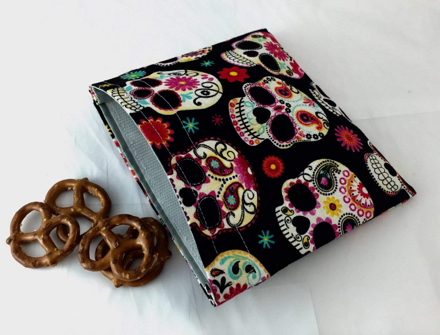 Reusable Snack Bag Eco-Friendly - Sugar Skulls Black