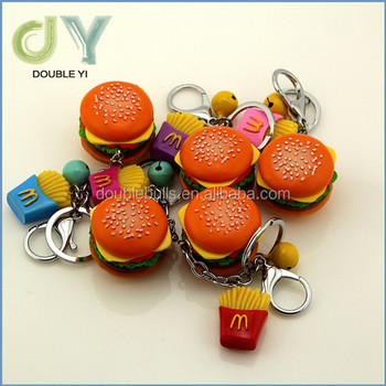customized/wholesale cute funny small3d hamburger food keychain
