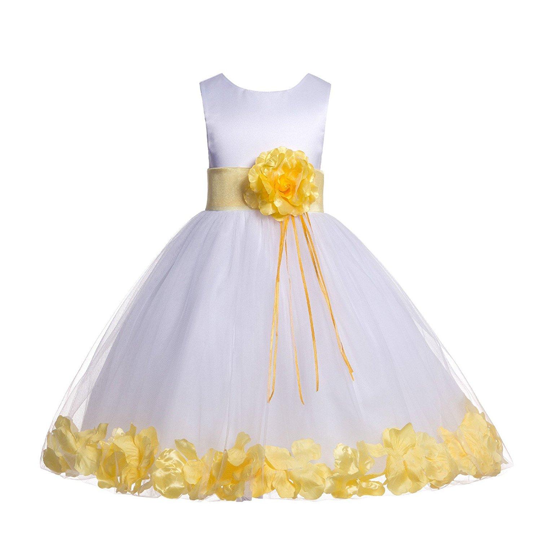 6c4f7e06c2e Get Quotations · ekidsbridal Floral Rose Petals White Flower Girl Dress  Pageant Dresses Junior Flower Girl Dress Birthday Girl