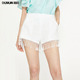 Women white lace crochet tassel bottom hot shorts