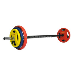 Training weightlifting 10kg straight bar rubber Coated barbell