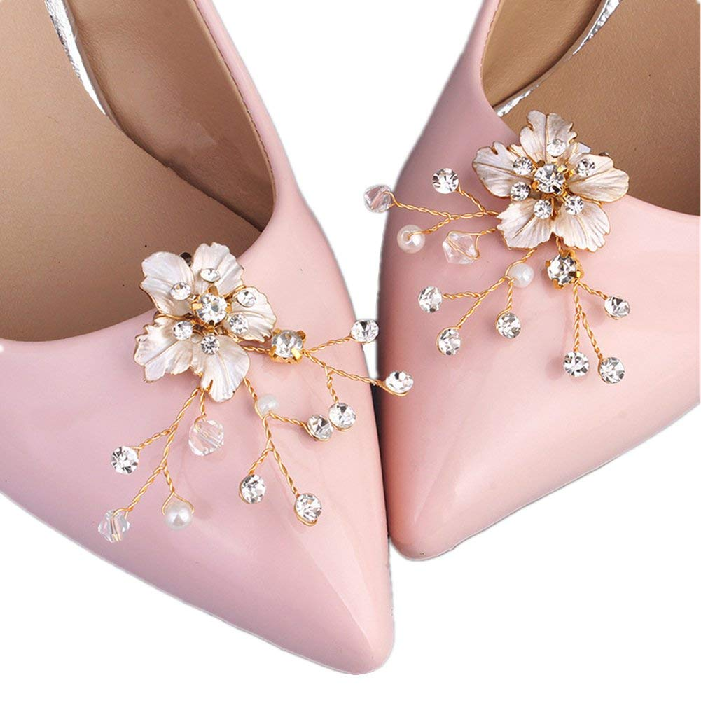 881dbe22d426a Get Quotations · Casualfashion 1 Pair Bridal Wedding Crystal Beads Flower Shoe  Clips Rhinestone Shoe Buckles Accessories for Women