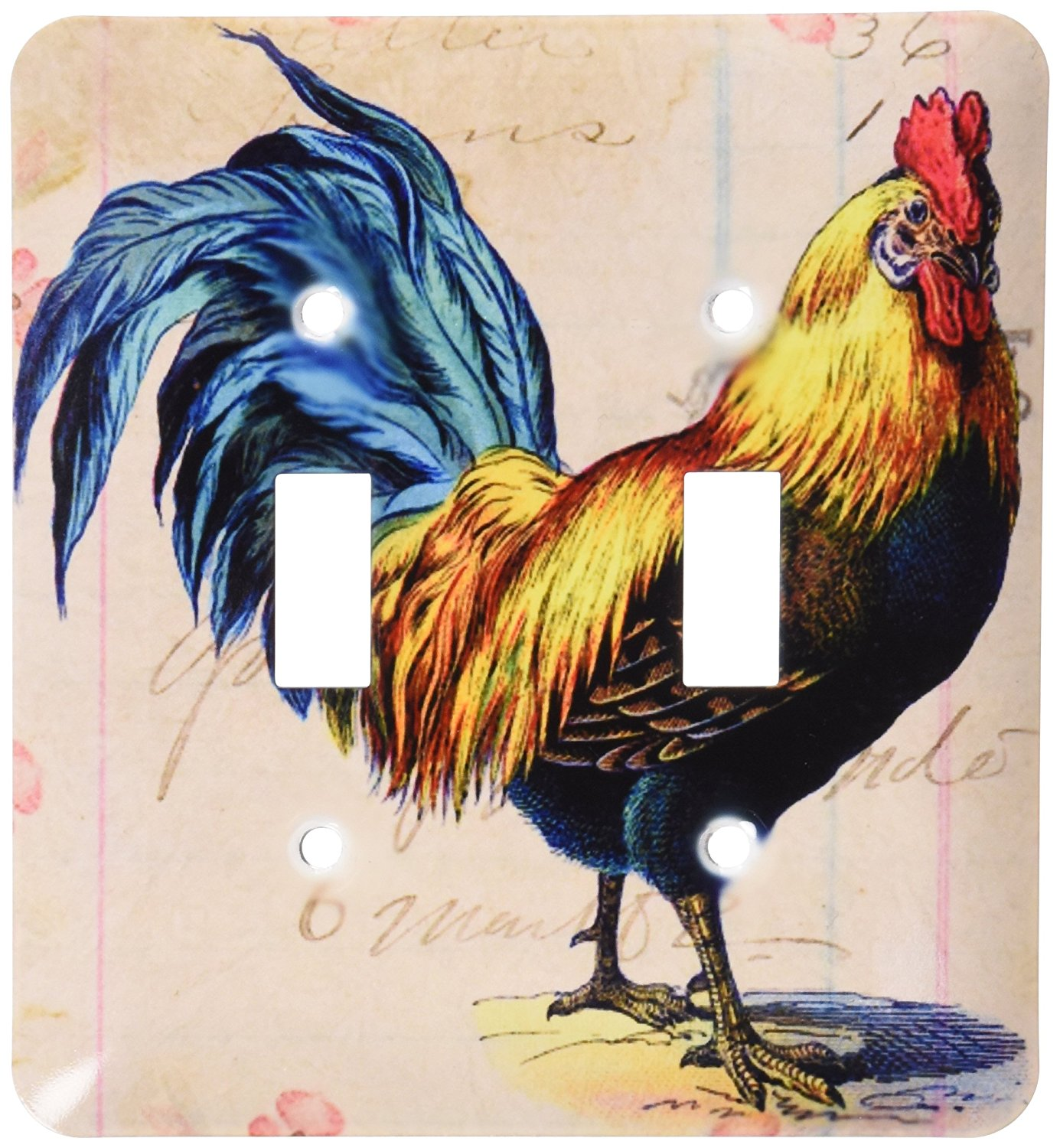 3dRose LLC lsp_108229_2 Vintage Rooster Digital Art By Angel and Spot Double Toggle Switch