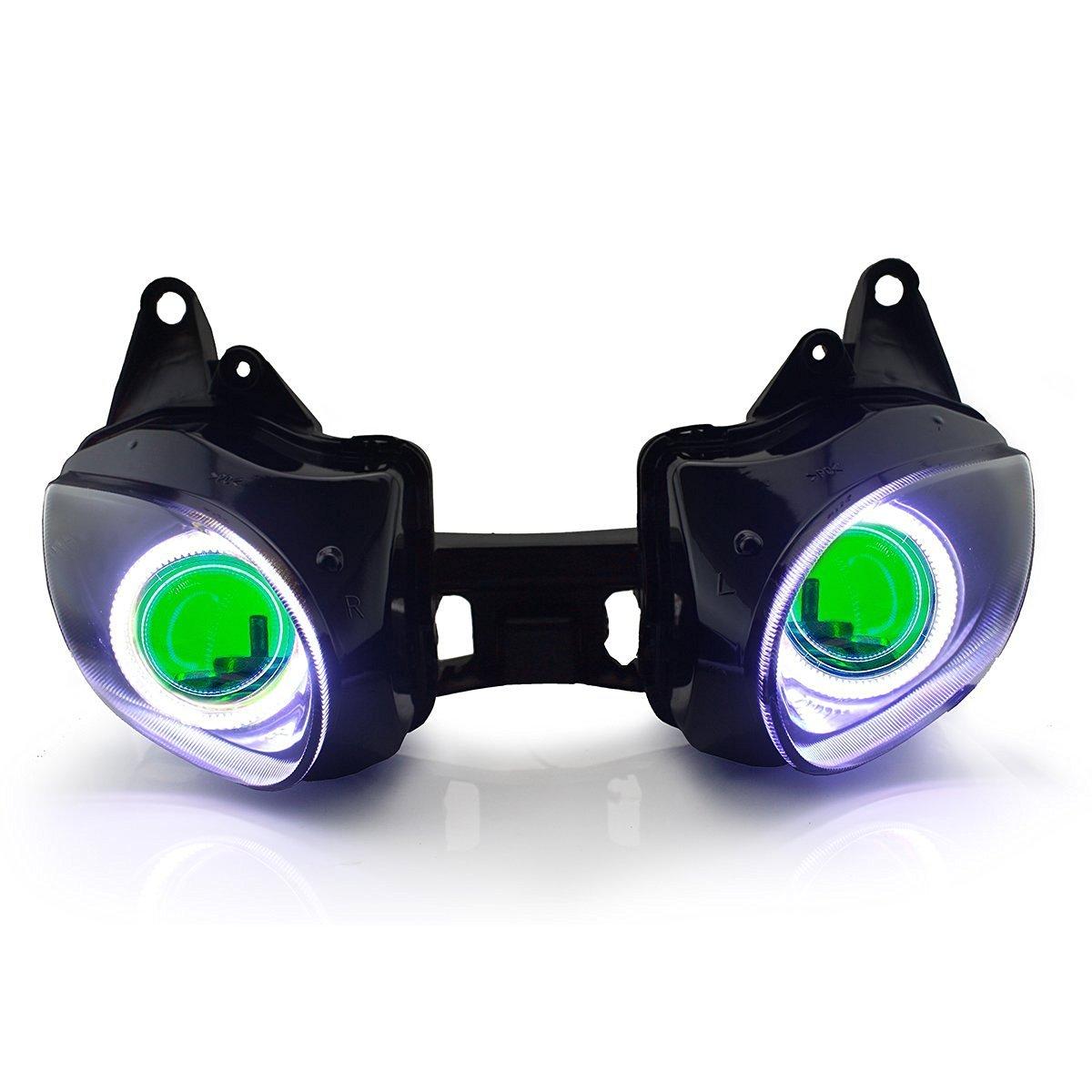 KT LED Angel Eye Headlight Assembly for Kawasaki Ninja ZX-6R 2007-2008 Green Demon Eye