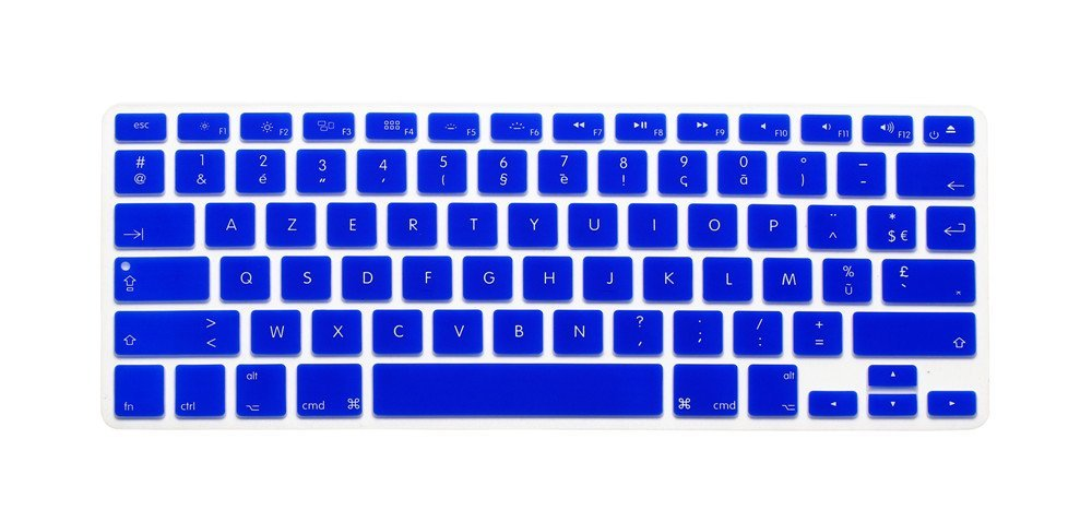 "French / English Keyboard Cover, HQF® Notebook Silicone *French Belgian Keyboard Skin* Protection Laptop Layout for All Apple Macbook Air Pro 13"" 15"" *US Version*(Sea Blue)"