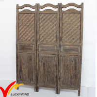 Rustic Screen 4 Panel Wood Room Divider