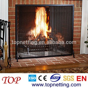 Fire Pit Black Spark Screens/ Fireplace Metal Mesh Curtain