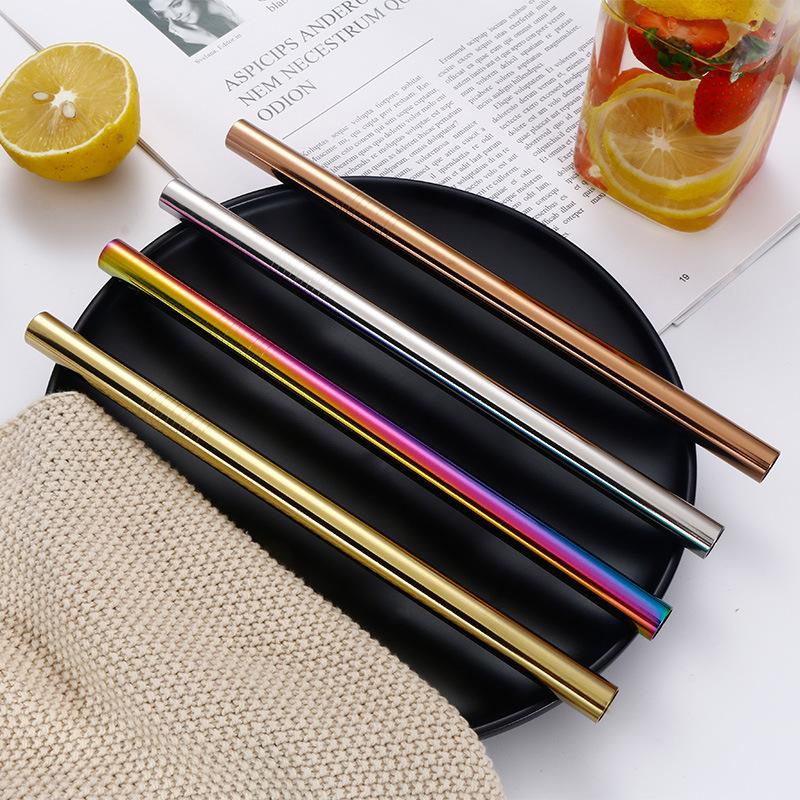 215*6mm et 215*12mm 3 pièces ensemble de 304 paille en acier inoxydable sertie de portable sac/amazon paille en métal accessoires de bar