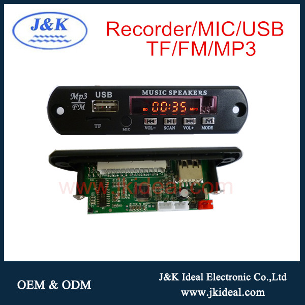 JK3090 TF / USB / FM / MP3 função mp3 music player module com gravador