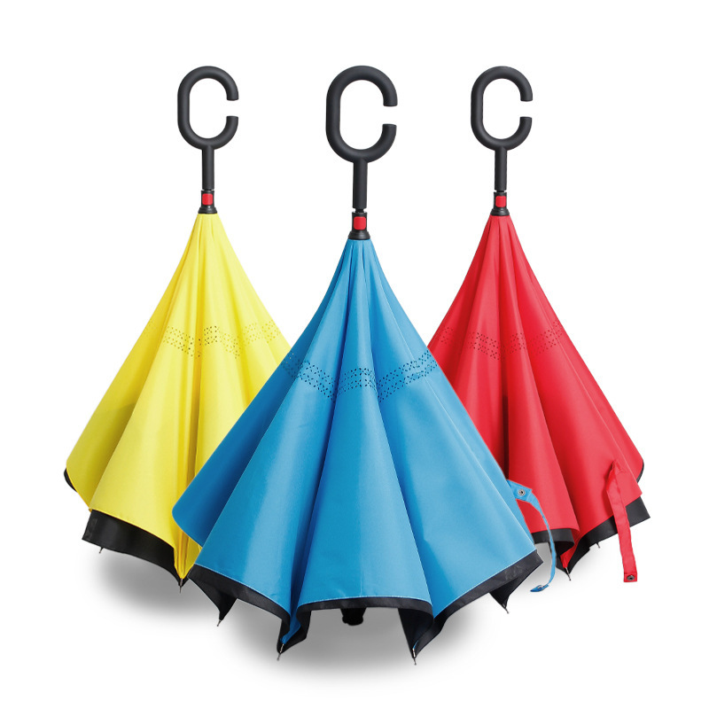 Newly design innovation upside down manual c handle inverted umbrella